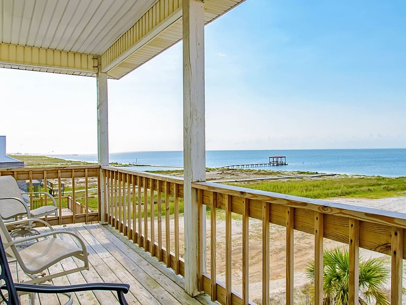 Charming beach-front home with spacious wrap-around porch, private deck, holiday rental in Coden