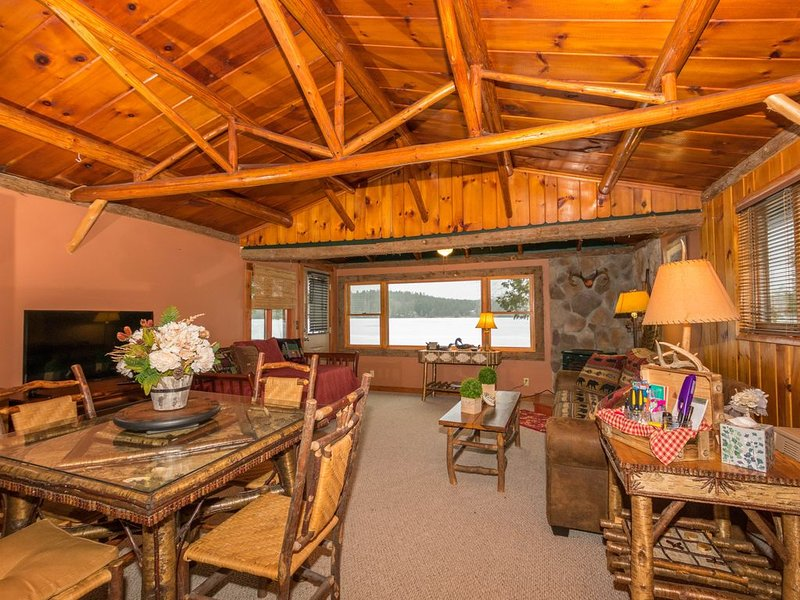 Living Room with Day Bed, Dining Area overlooking Lake Colby