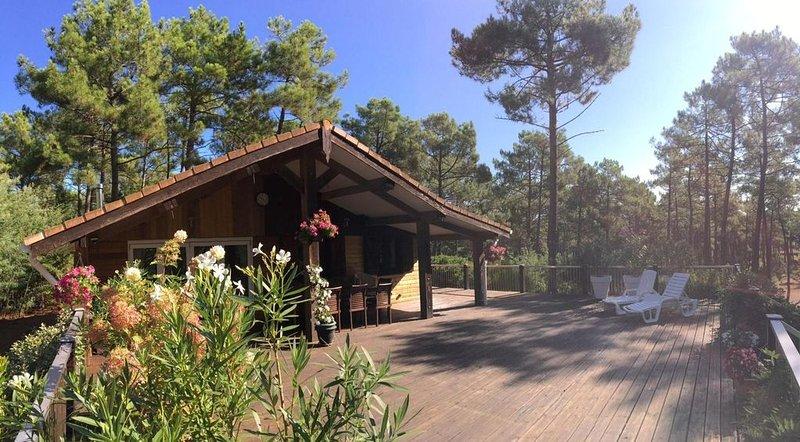 La Jenny Fauvette Comfort Chalet overlooking pool in Naturiste Village, location de vacances à Le Porge