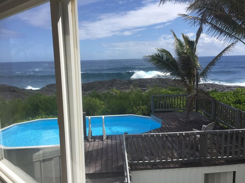 Stunning Ocean Front home w/ pool & AC- whales, dolphins and turtles! � � �, vacation rental in Kapoho