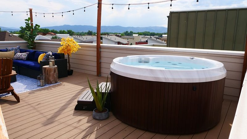 Rooftop Oasis with Hot Tub and views of the Front Range & Horsetooth.