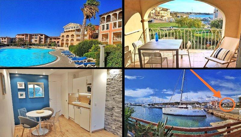 Grande terrasse, 50m plage vue mer + piscine privée + parking fermé, holiday rental in Six-Fours-les-Plages
