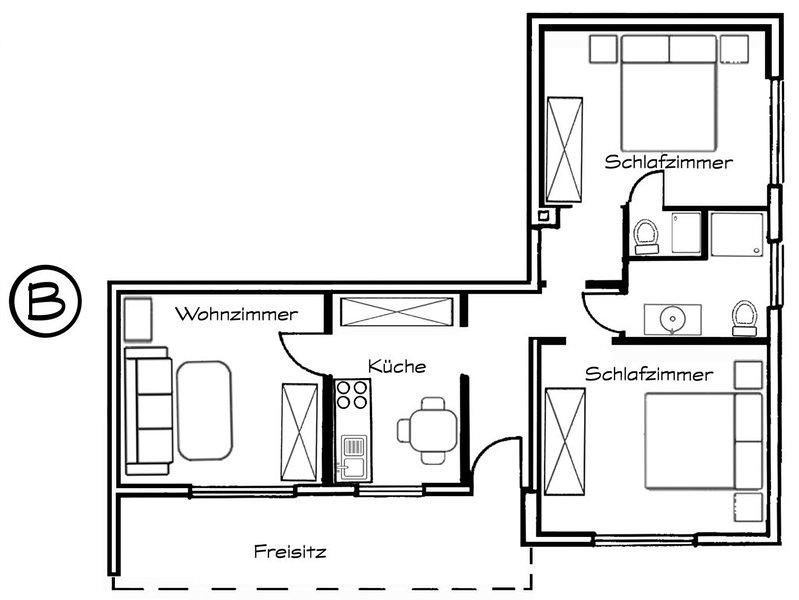 Notre appartement peut être réservé avec 1 ou 2 chambres