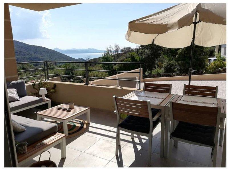 Appt neuf, Vue mer et maquis, Terrasses et Jardins, climatisation, Wifi, parking, holiday rental in Ogliastro