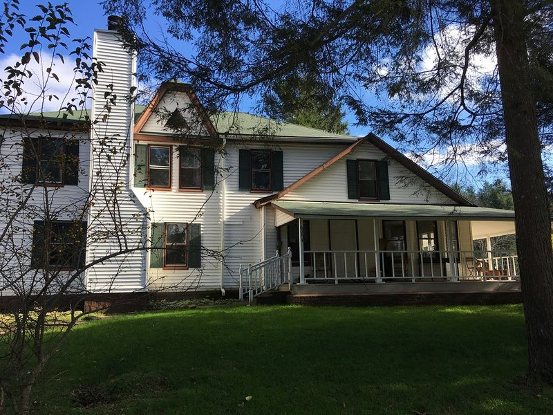 Beautiful Catskills Farmhouse, Wood Burning Hot Tub! 5 acres with pond, woods., alquiler de vacaciones en Ferndale