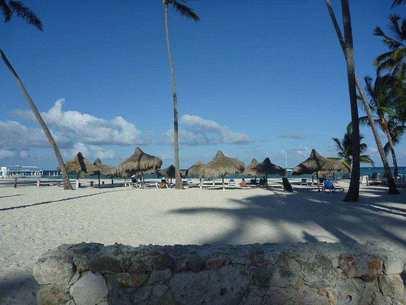 Des parasols et des chaises longues sur la plage juste en face du condo