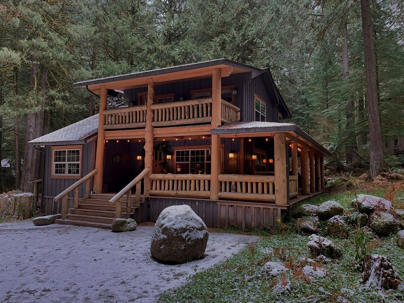 Reduced winter rates!  Cozy, luxury  cabin, on 2 flowing creeks w/ log gazebo., holiday rental in Rhododendron