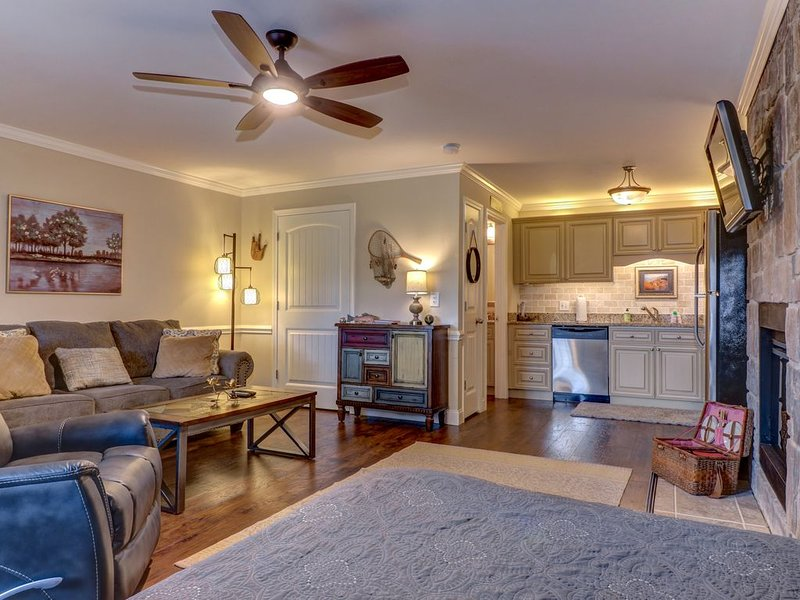 Riverfront condo w/ shared pool, firepit & decks -walk to trails, vacation rental in Townsend