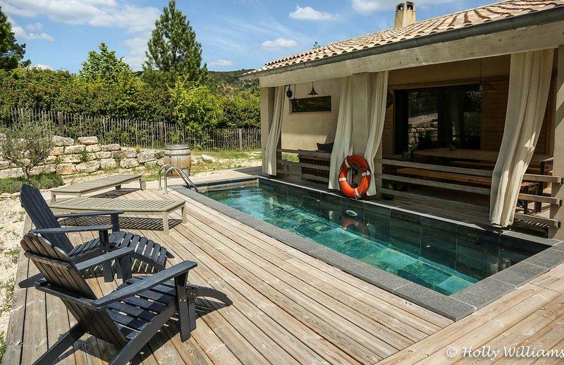 Maison climatisée avec Piscine privée, terrain clôturé 2500m2 à St André de R., location de vacances à Gard