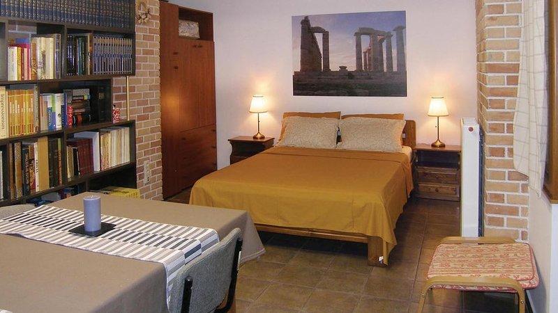 ATENE CENTRO ampio monolocale al piano seminterrato, artistico e privato., holiday rental in Chaidari