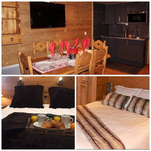 DUPLEX  ESPRIT CHALET 44 m2, PLEIN SUD, 6/7 PERS 3 CHAMBRES, GRAND CONFORT- WIFI, aluguéis de temporada em Val Thorens