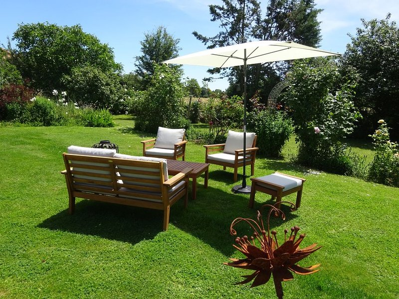 Lovely seating area set amongst the roses