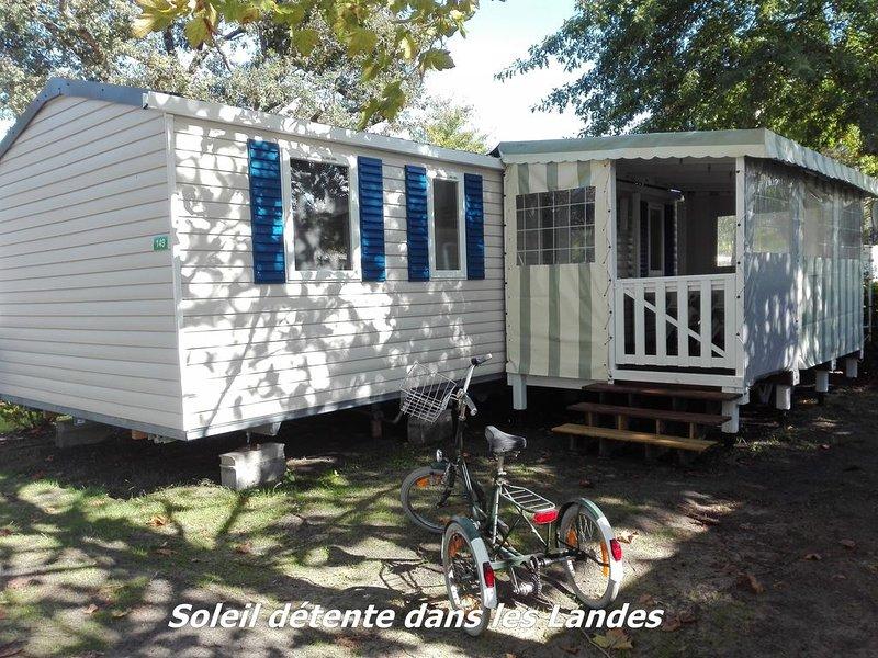 Mobile Home Neuf 3 ch entièrement équipé Village Vacances 4 étoiles bord de Lac, vacation rental in Gastes