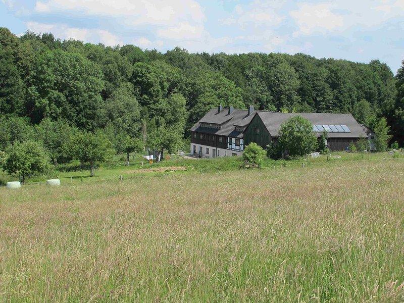Schöne Haushälfte auf familienfreundlichem Bauernhof Nähe Freiberg und Dresden, holiday rental in Freiberg