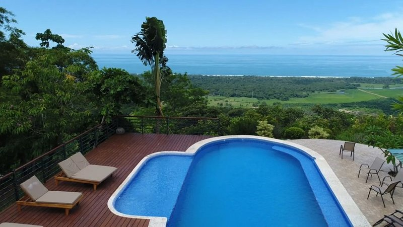 Pool area offers breath taking views of the Pacific Ocean.