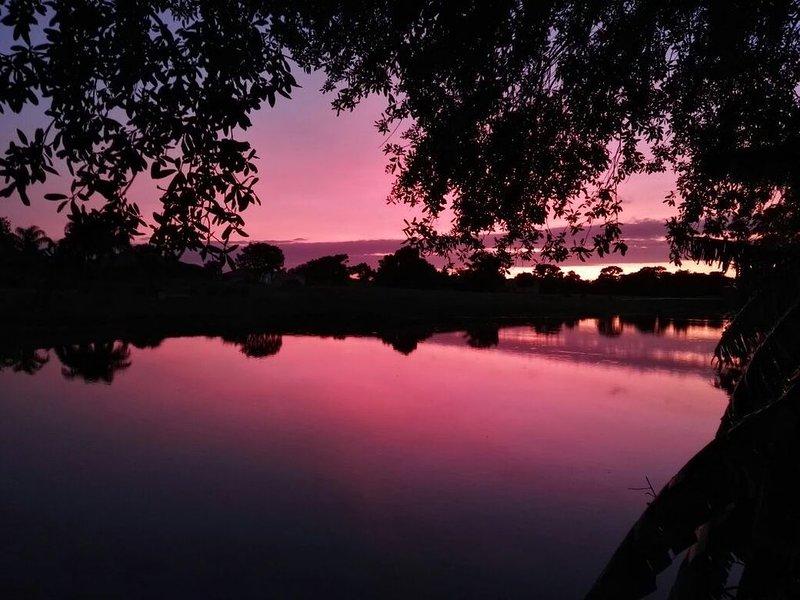 solnedgång på kajen
