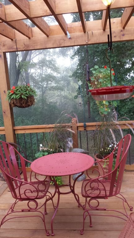 View of the deck from the kitchen on an early foggy morning
