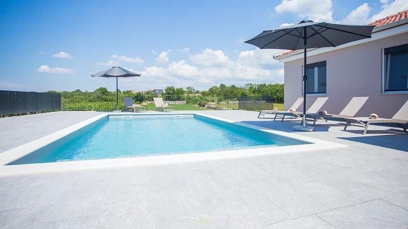 Nice, airy villa with pool near Rovinj, holiday rental in Kanfanar