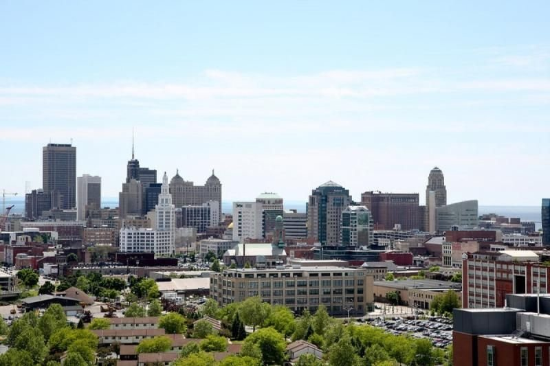 Downtown Buffalo with array of shops, restaurants, museums and sport fields