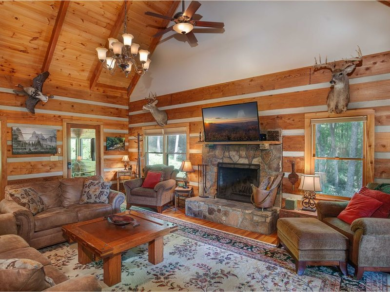 Rustic Log Cabin in Valle Crucis with Mountain Views, Hot Tub, River Access, Arc, holiday rental in Sugar Grove