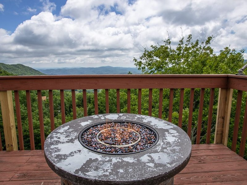 Outdoor Seating and Fire Table situated to Highlight the Long Range Views!