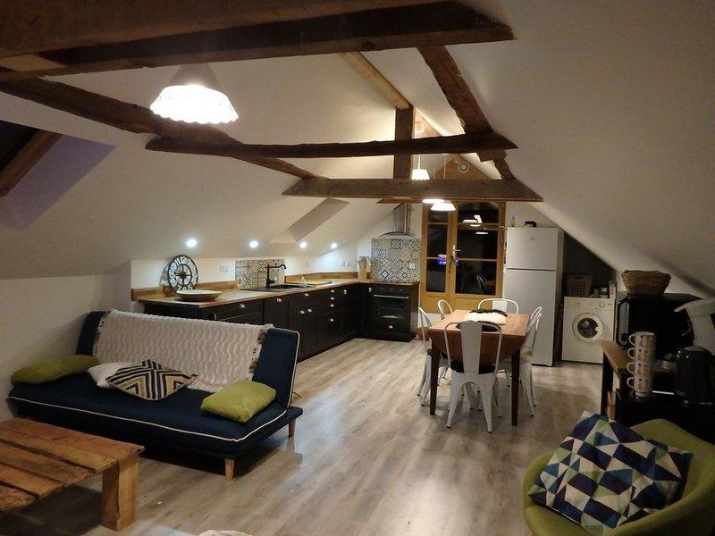 Grange spacieuse, confortable pour séjour familial. Lieu charmant, terrasse ext., holiday rental in Bagneres-de-Luchon