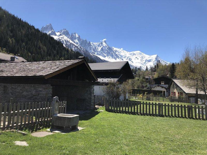 2 pièces 45 m2 face aux Aiguilles et au Mont - Blanc. Randos et ski à proximité, holiday rental in Les Praz-de-Chamonix