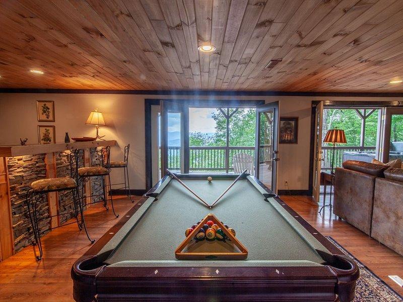 Table de billard et deuxième cuisine dans la pièce de détente et la salle de jeux