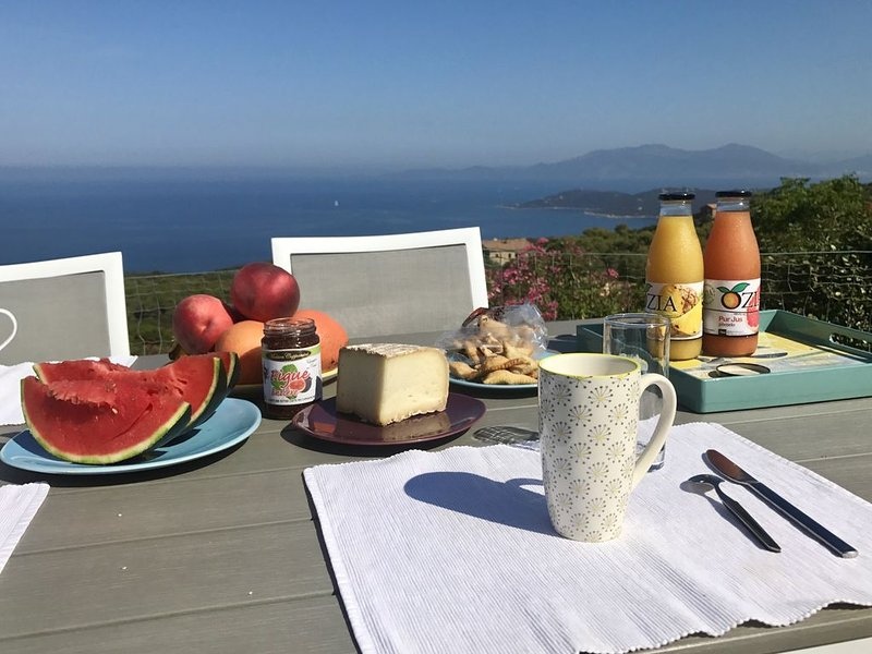The view from the garden at breakfast, consisting of local products!