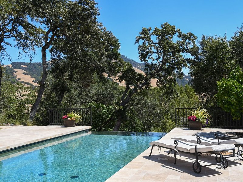 View of oak trees, hills from pool area - even more amazing in person