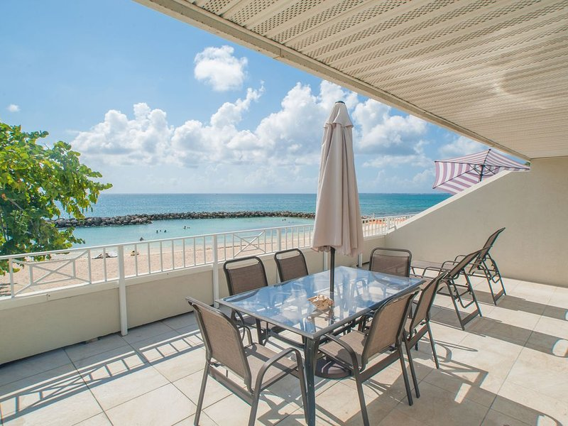 Some of the largest patios on the beach