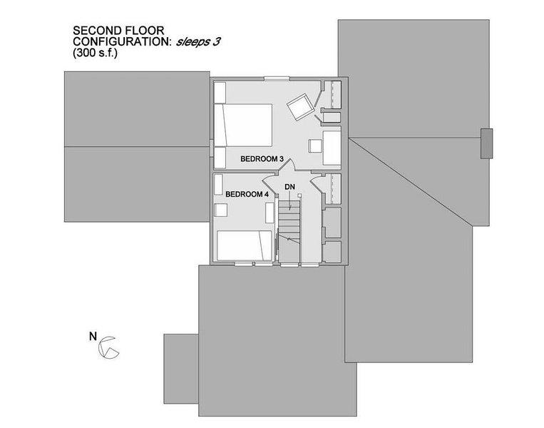 Plan de l'étage - deux chambres