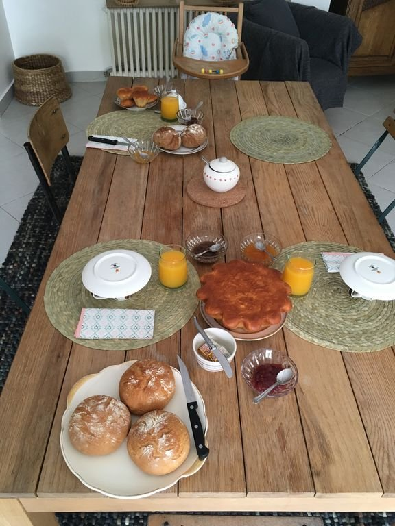 A homemade breakfast prepared and served at the Pigeonnier