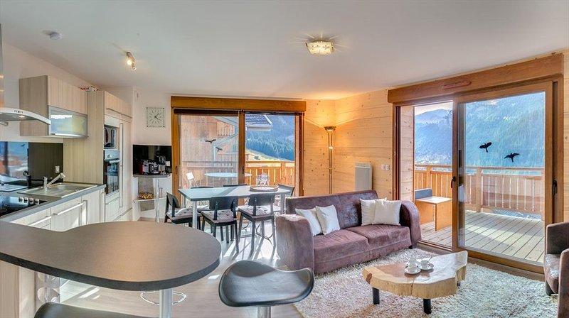 Appartement moderne 6 pers - moderne, central, proche pistes, grande terrasse, casa vacanza a Morgins