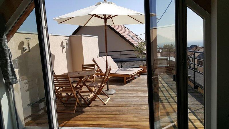 NEUF Maison4****grande terrasse sud avec vue sur la plaine pres d'Eguisheim, vacation rental in Soultzmatt