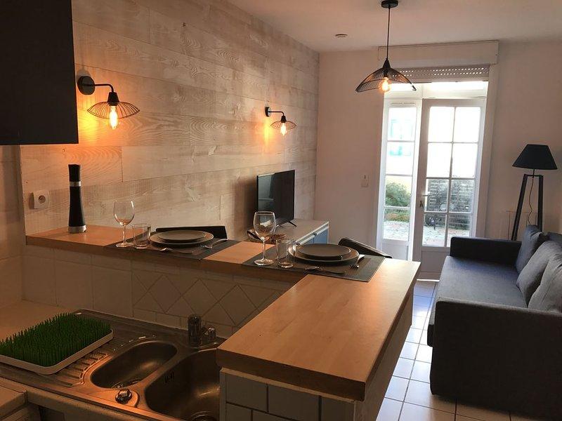 Appartement RDC avec grande terrasse à 20 mêtres de la plage, holiday rental in Saint Vivien