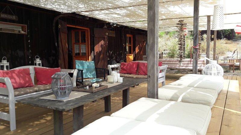 maison bois bassin d'Arcachon dans les bois proche du Petit Nice, location de vacances à Cazaux