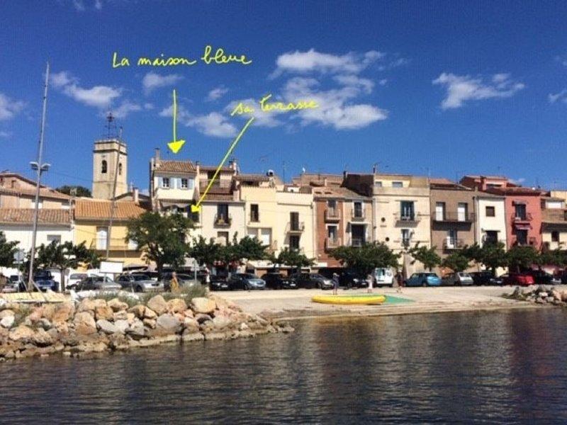 La Maison bleue, vue exceptionnelle sur le bassin de Thau, la presqu'île de Sète, holiday rental in Bouzigues