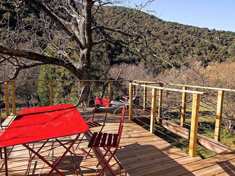 Esprit loft avec terrasse sur pilotis donnant sur la nature et une rivière., holiday rental in Valleraugue
