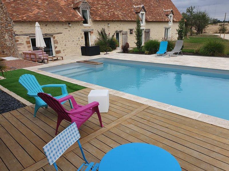 Cottage à la ferme avec piscine chauffée, location de vacances à Mézières-en-Brenne