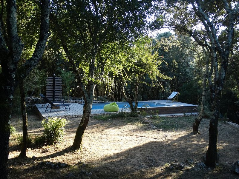 villa dans un cadre boisé au calme avec piscine privée, holiday rental in Barjac