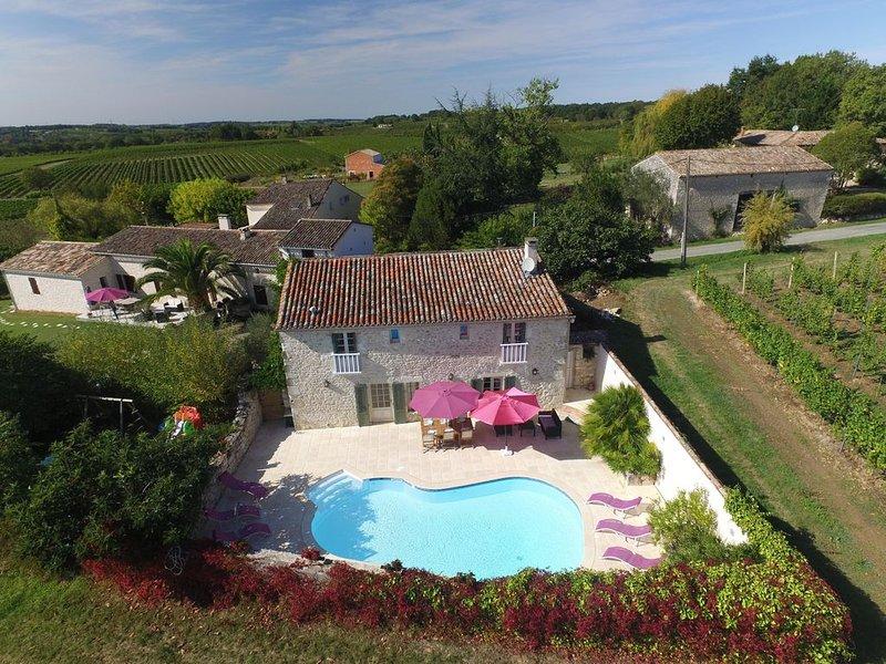 Foto aérea da casa de campo com piscina privada