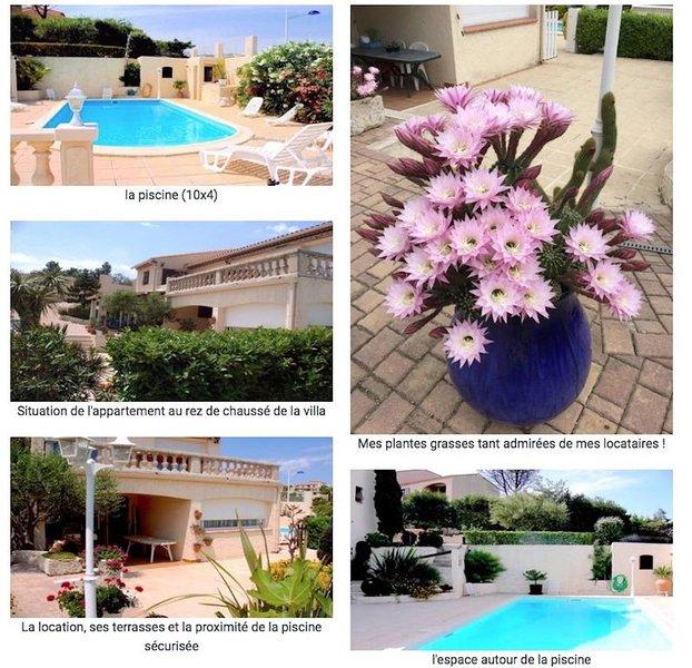 Vue et accès mer à 400 mètres, piscine privée, location de vacances à Sausset-les-Pins