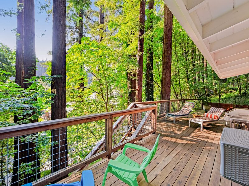 New listing! City chic in the redwoods w/ deck & Ping-Pong- near the river!, location de vacances à Guerneville
