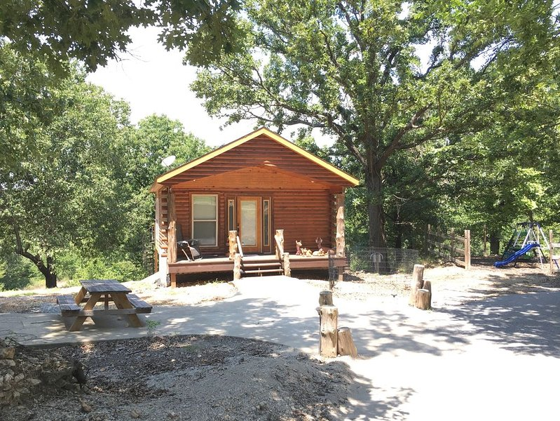 Beautiful Log Cabin with lake access, pond, and 4-wheeling trails, holiday rental in Afton