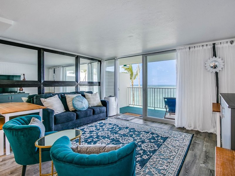 Amazing beach and ocean views from the living room and kitchen!