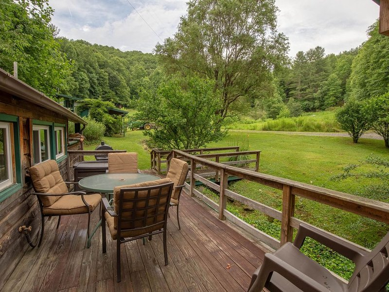 Historic, private log cabin w/ deck, fireplace & wood stove - one dog OK!, holiday rental in Sylva