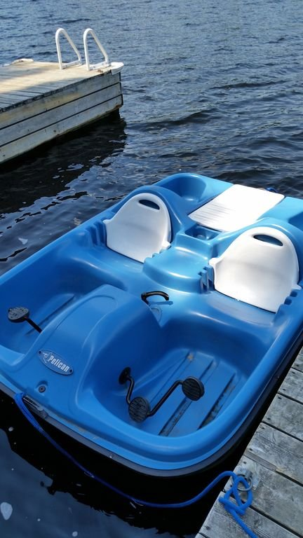 Paddle boat included.