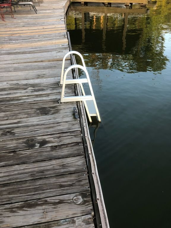 Run and jump! Use the swim ladder to exit.
