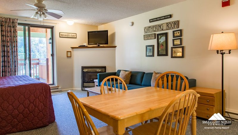 Studio in Beautiful Smugglers' Notch Village, location de vacances à Cambridge